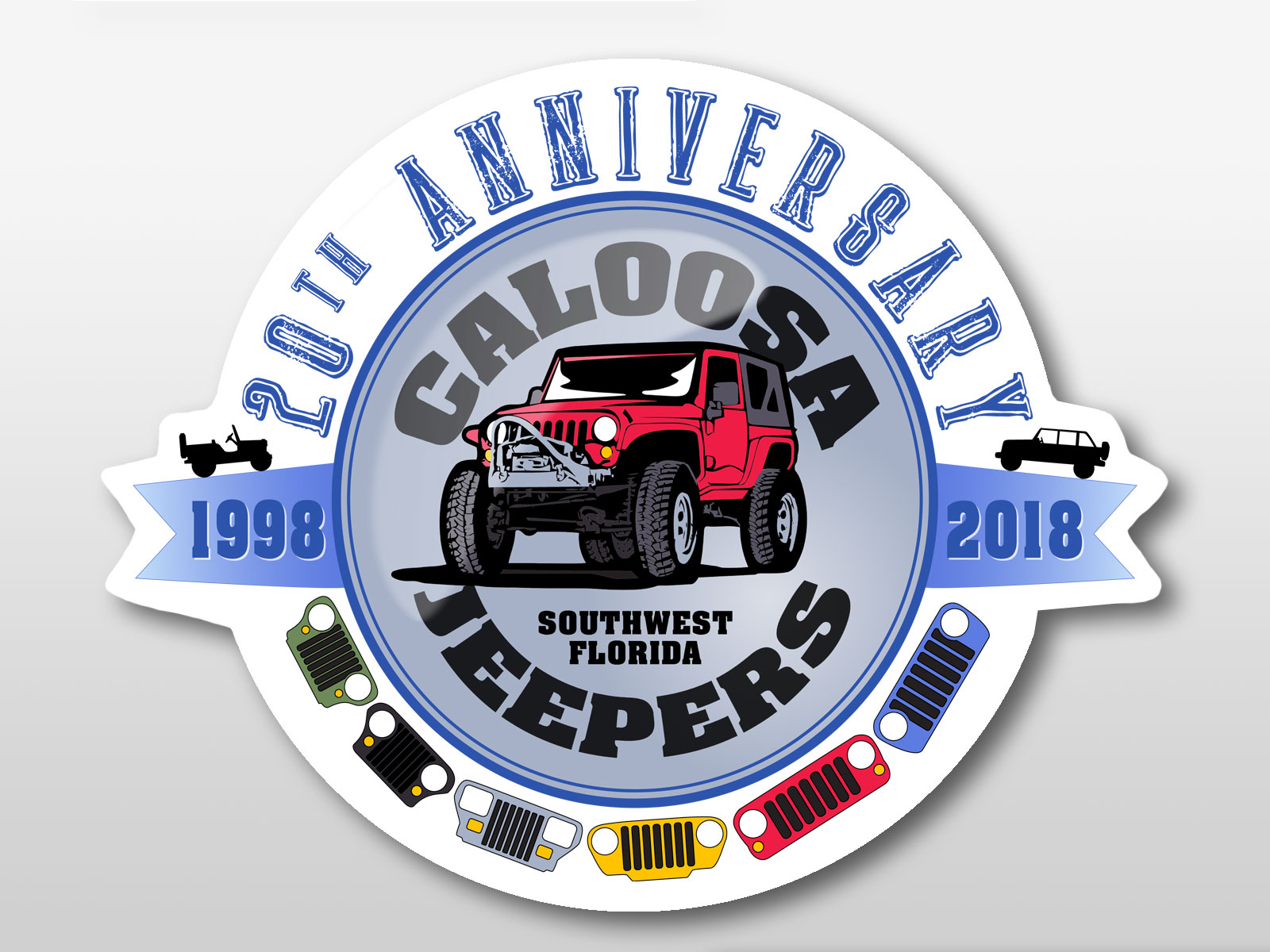 Caloosa Jeepers 20th Anniversary Sticker
