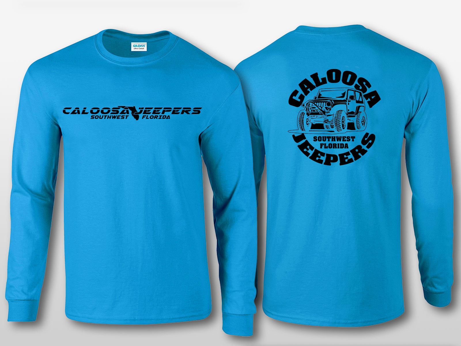 Caloosa Jeepers Light Blue Tshirt Long Sleeves