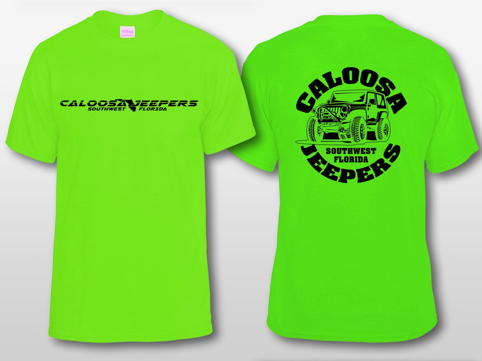 Caloosa Jeepers Logo Lime Tshirt Short Sleeves