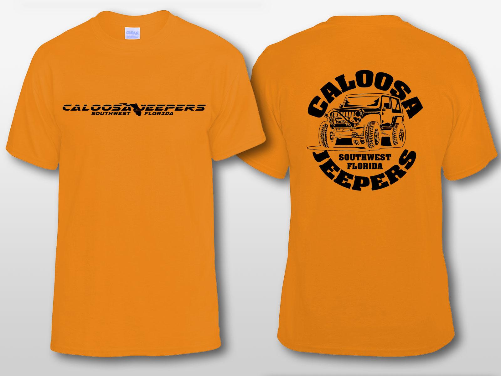 Caloosa Jeepers Logo Orange Tshirt Short Sleeves