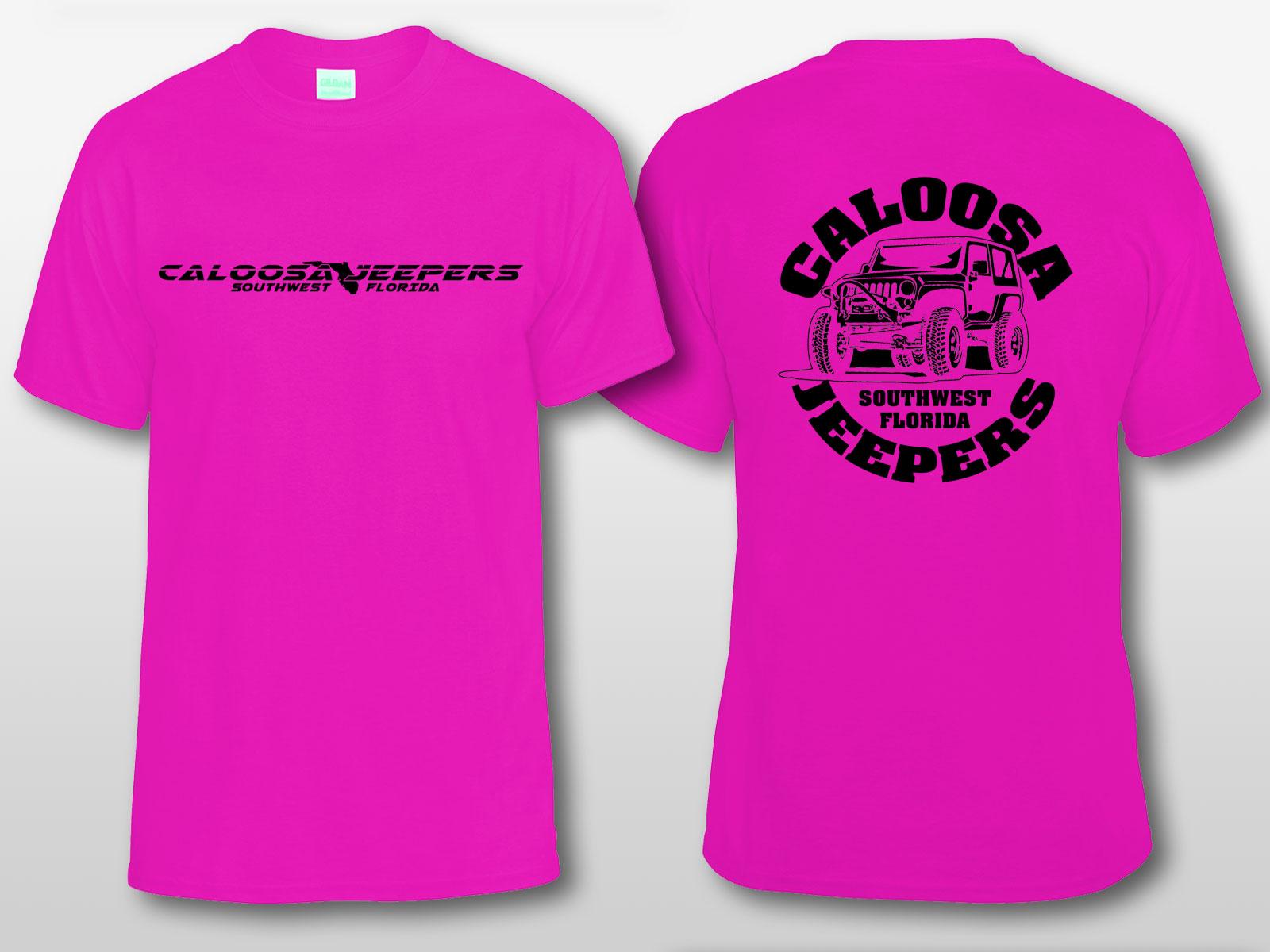 Caloosa Jeepers Logo Pink Tshirt Short Sleeves