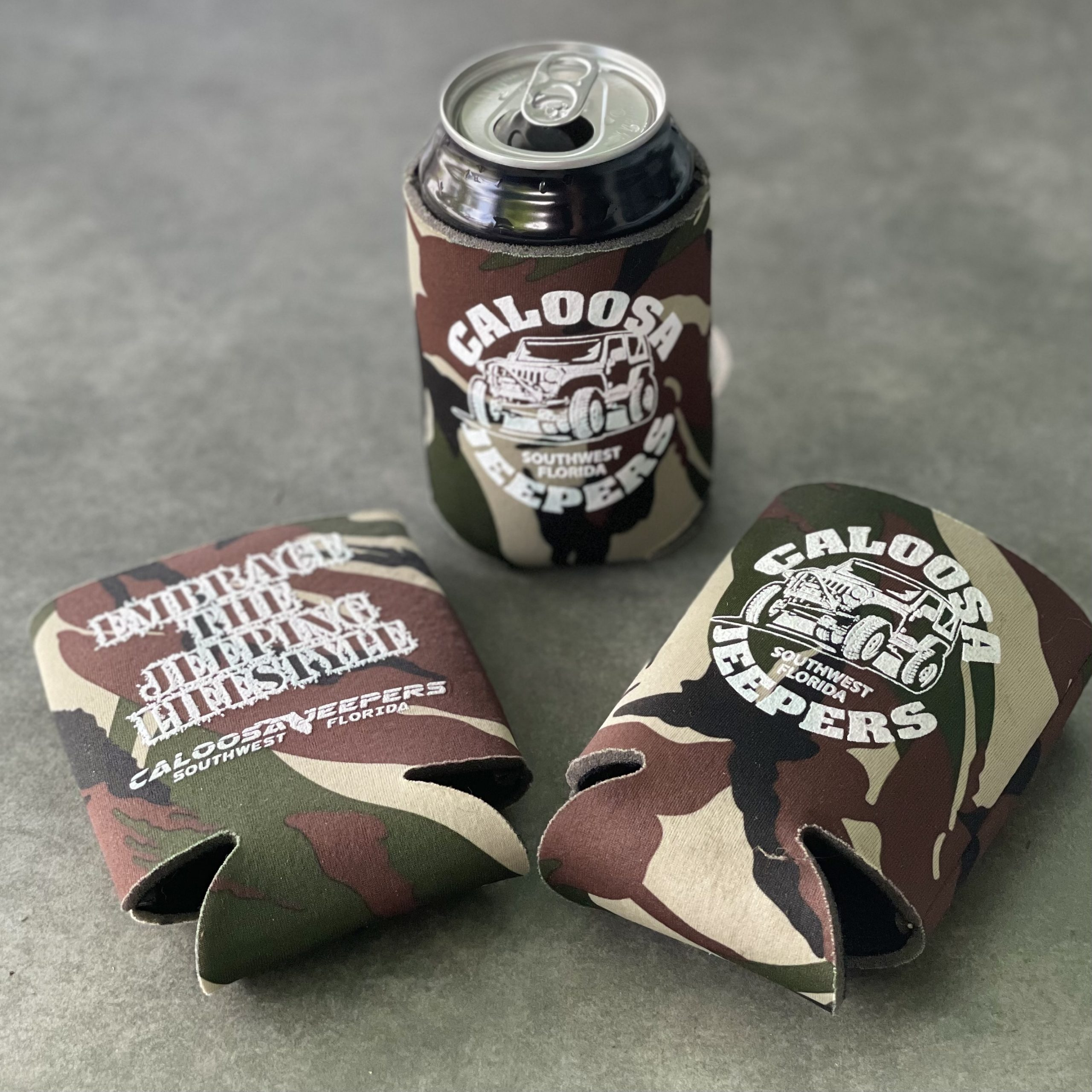 Caloosa Jeepers Camouflage Can Koozie